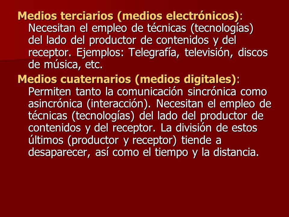 Medios terciarios (medios electrónicos): Necesitan el empleo de técnicas (tecnologías) del lado del productor de contenidos y del receptor. Ejemplos: Telegrafía, televisión, discos de música, etc.