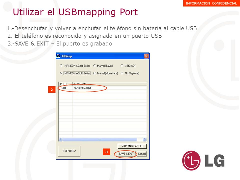 Utilizar el USBmapping Port