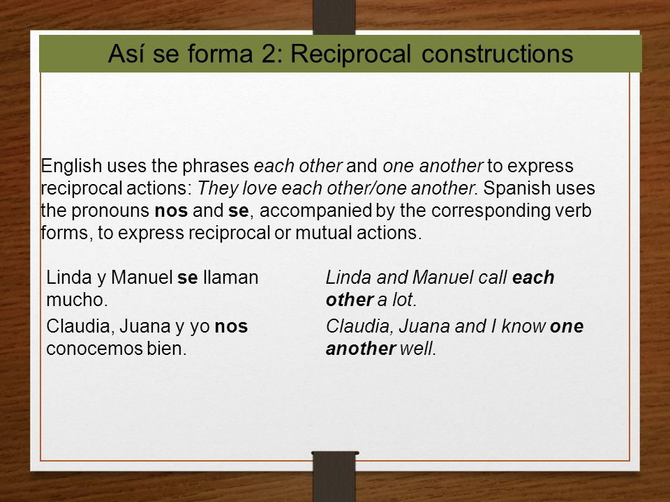 Así se forma 2: Reciprocal constructions