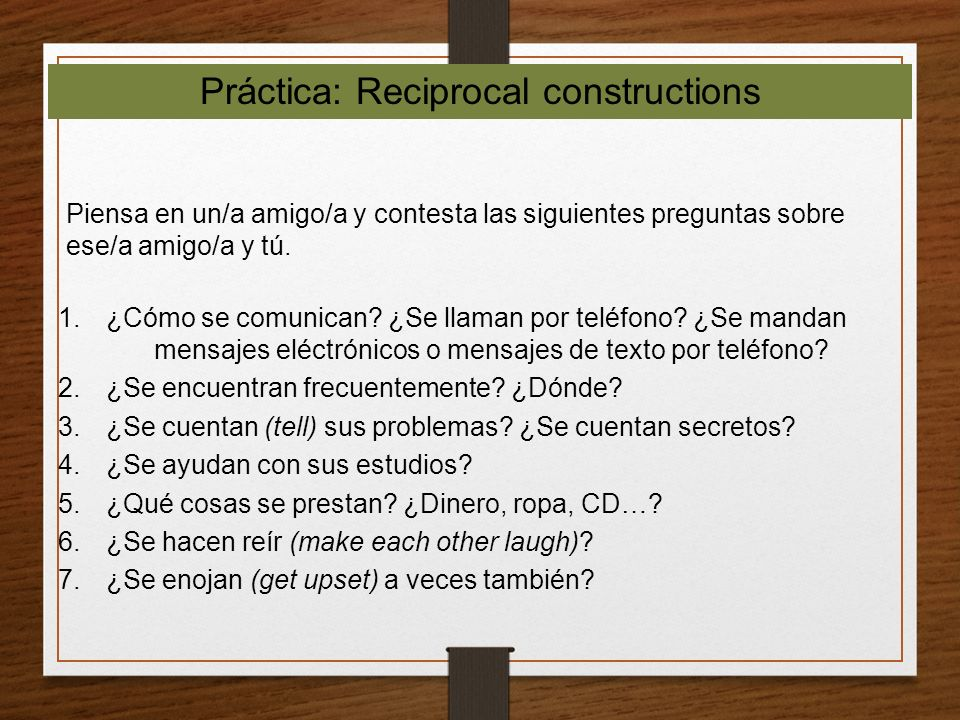 Práctica: Reciprocal constructions