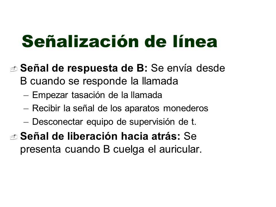 Señalización de línea Señal de respuesta de B: Se envía desde B cuando se responde la llamada. Empezar tasación de la llamada.