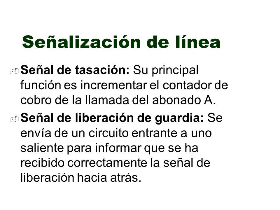 Señalización de línea Señal de tasación: Su principal función es incrementar el contador de cobro de la llamada del abonado A.
