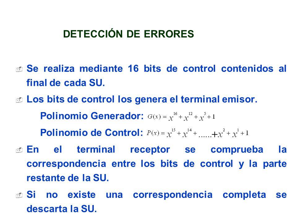 DETECCIÓN DE ERRORES Se realiza mediante 16 bits de control contenidos al final de cada SU. Los bits de control los genera el terminal emisor.