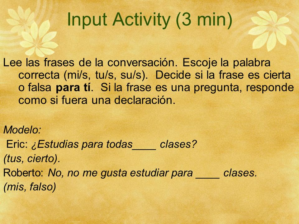 Input Activity (3 min)