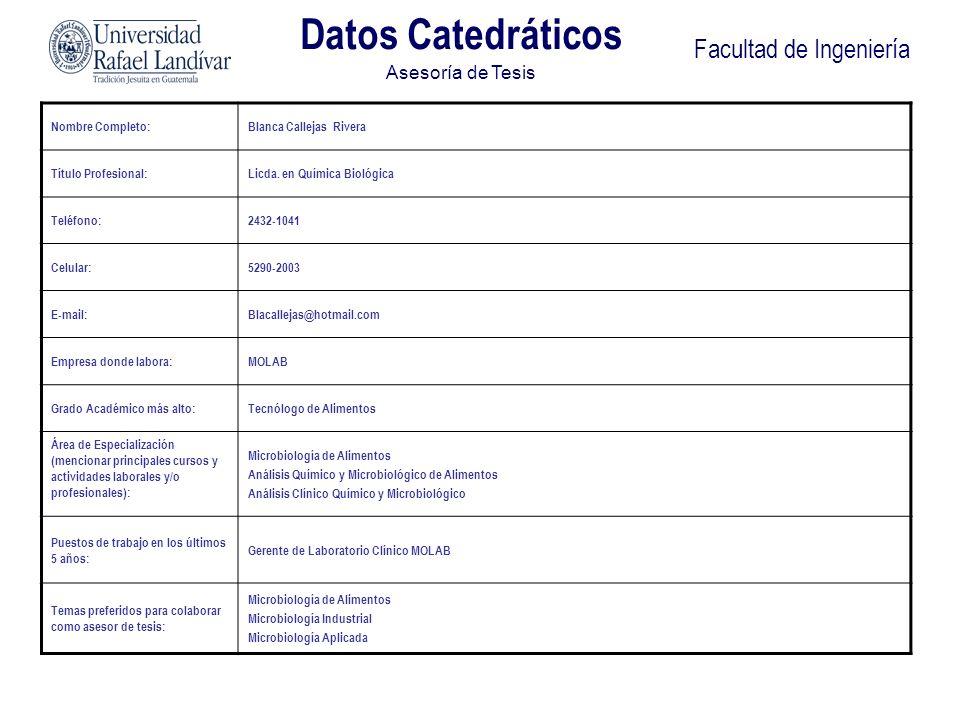 Datos Catedráticos Facultad de Ingeniería Asesoría de Tesis