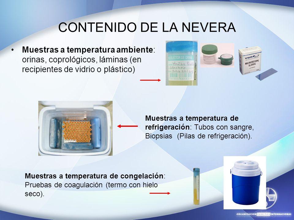 CONTENIDO DE LA NEVERA Muestras a temperatura ambiente: orinas, coprológicos, láminas (en recipientes de vidrio o plástico)