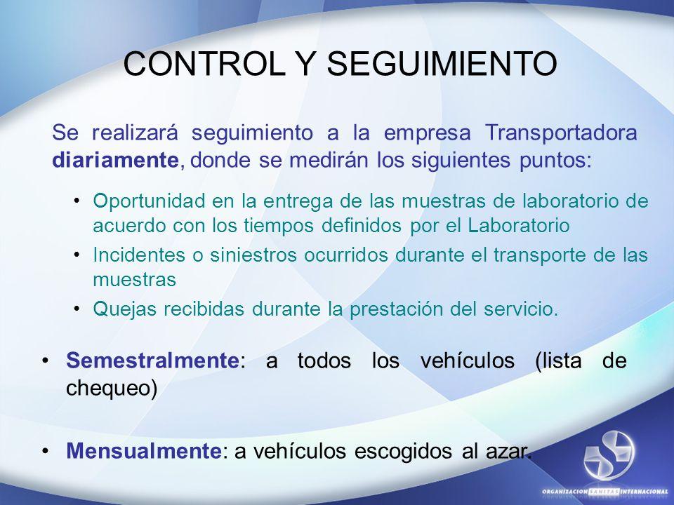 CONTROL Y SEGUIMIENTO Se realizará seguimiento a la empresa Transportadora diariamente, donde se medirán los siguientes puntos: