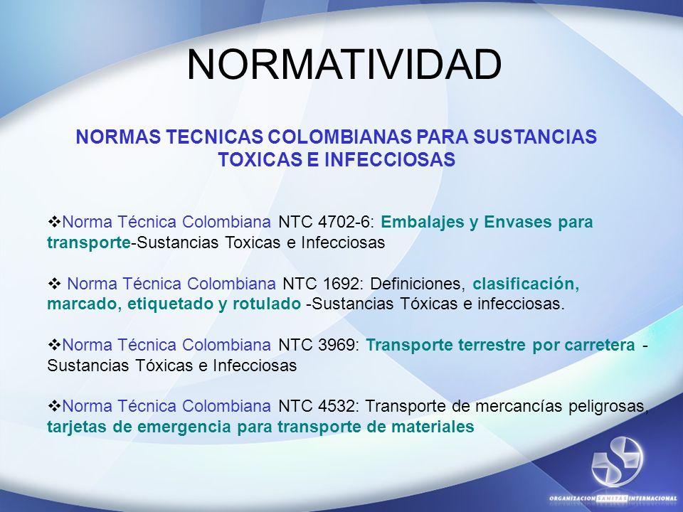 NORMAS TECNICAS COLOMBIANAS PARA SUSTANCIAS TOXICAS E INFECCIOSAS