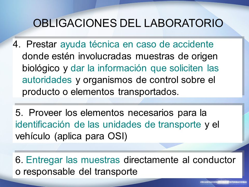 OBLIGACIONES DEL LABORATORIO