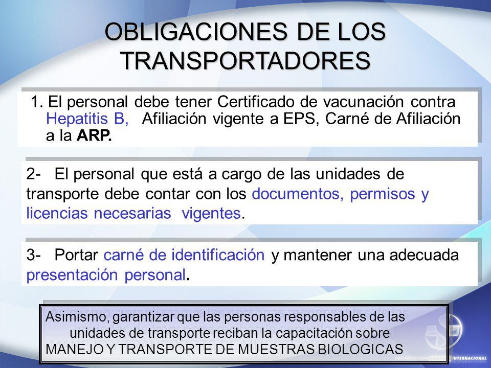OBLIGACIONES DE LOS TRANSPORTADORES