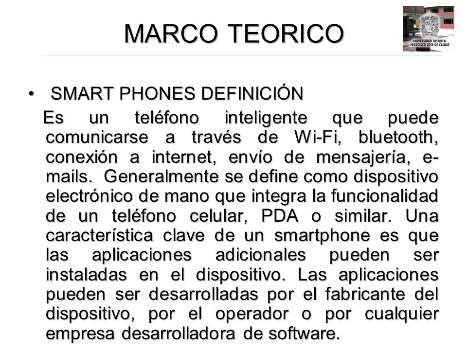 MARCO TEORICO SMART PHONES DEFINICIÓN