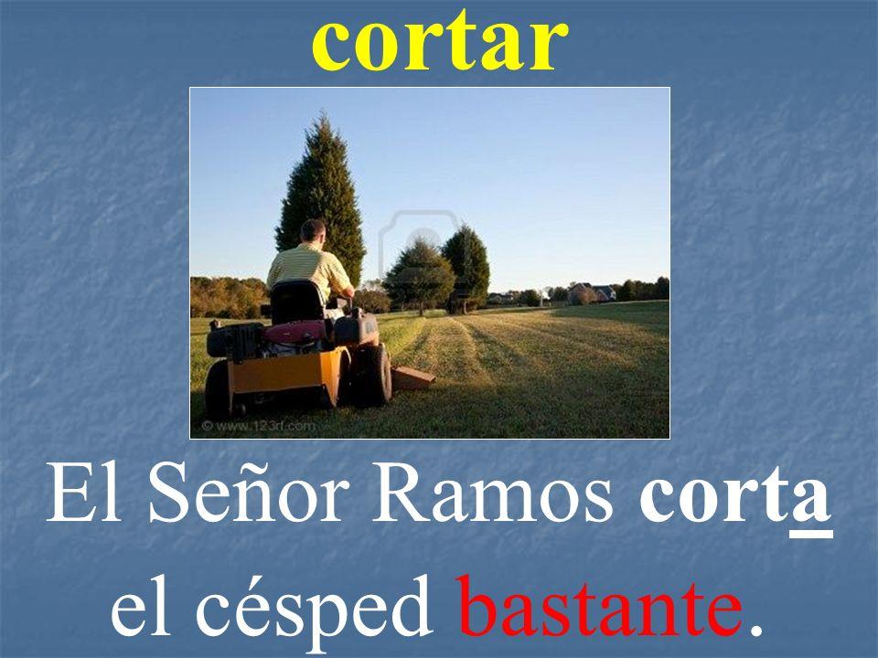 El Señor Ramos corta el césped bastante.
