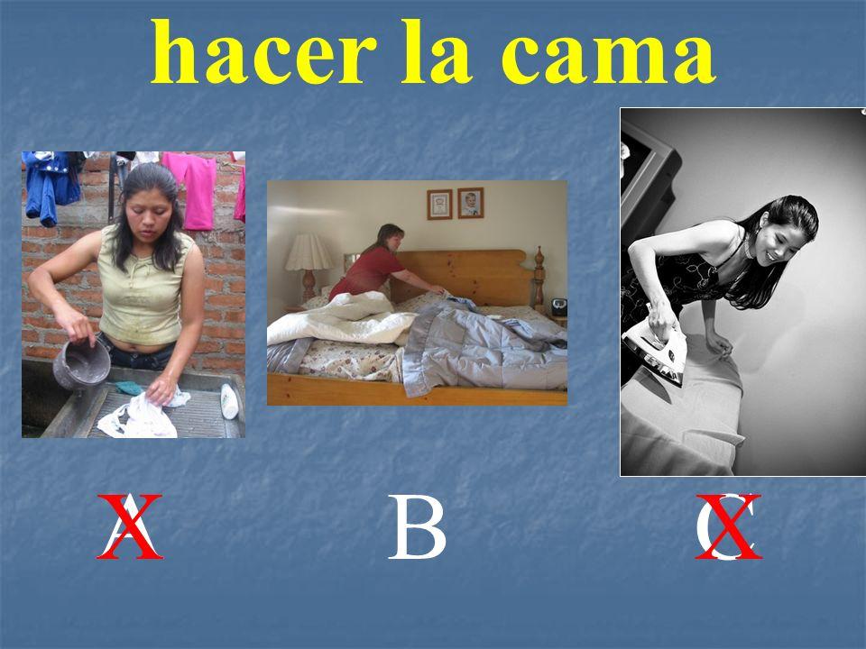 hacer la cama A X B C X