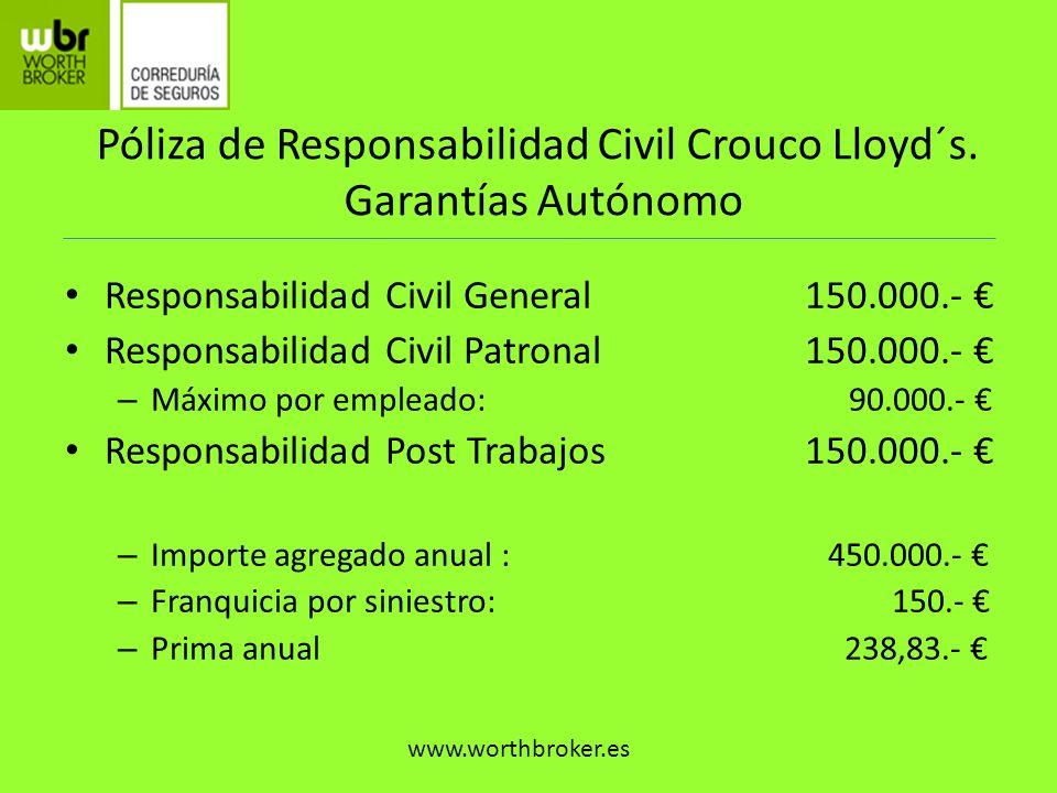 Póliza de Responsabilidad Civil Crouco Lloyd´s. Garantías Autónomo