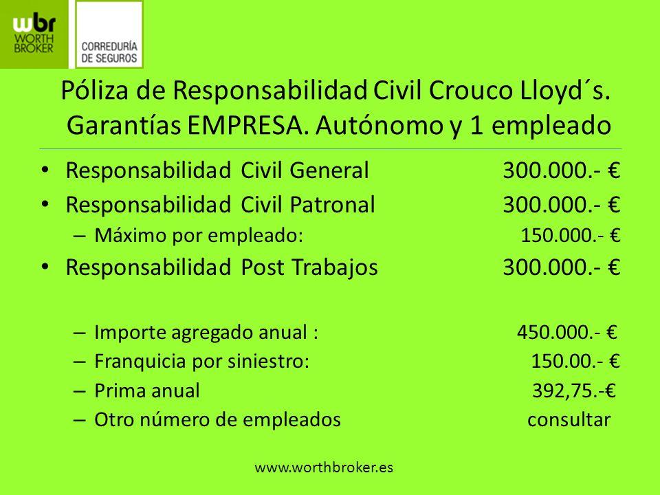 Póliza de Responsabilidad Civil Crouco Lloyd´s. Garantías EMPRESA