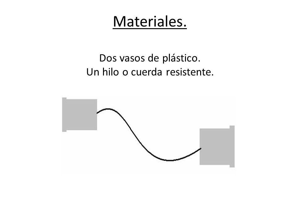 Materiales. Dos vasos de plástico. Un hilo o cuerda resistente.