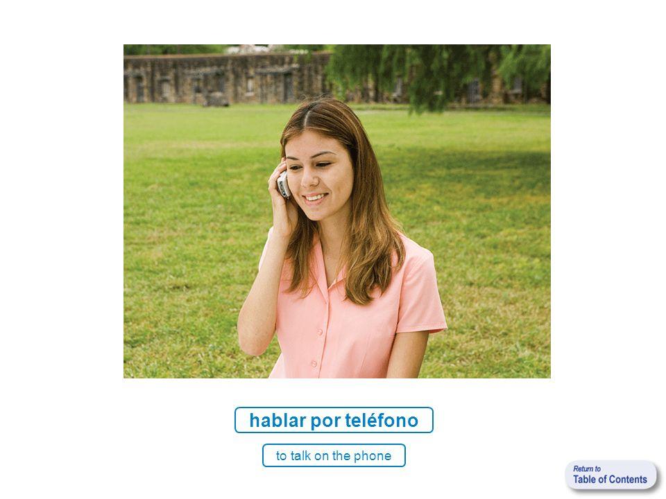 hablar por teléfono to talk on the phone