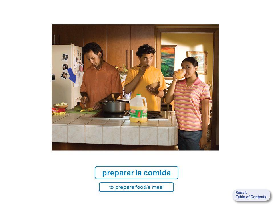 preparar la comida to prepare food/a meal