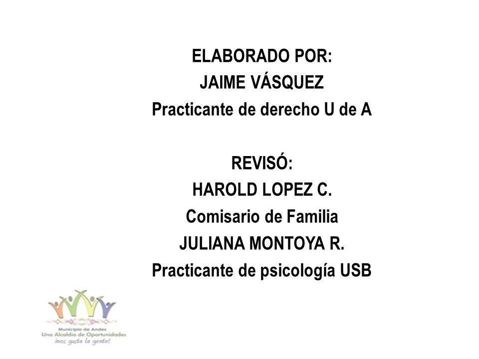 ELABORADO POR: JAIME VÁSQUEZ Practicante de derecho U de A REVISÓ: HAROLD LOPEZ C.