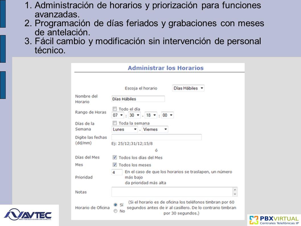 Administración de horarios y priorización para funciones avanzadas.