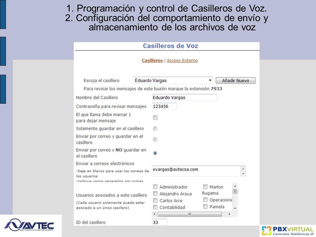 Programación y control de Casilleros de Voz.