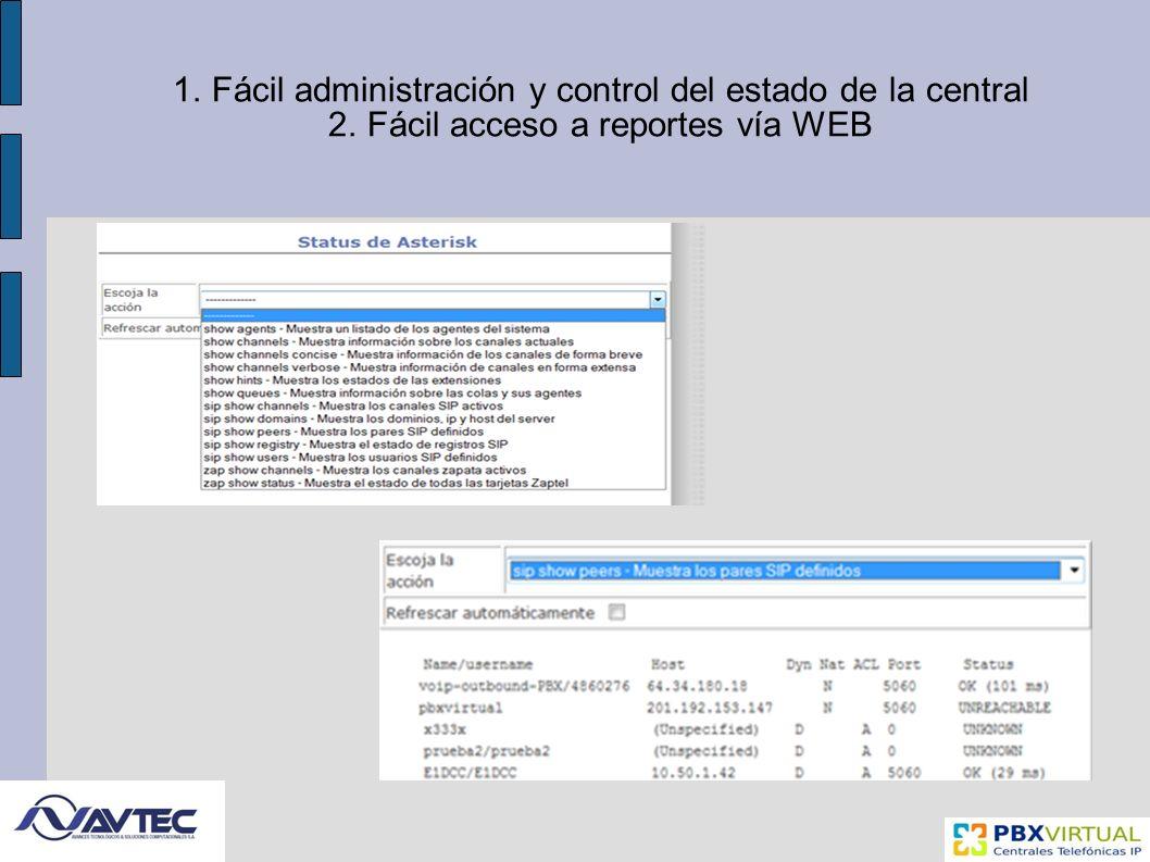 Fácil administración y control del estado de la central