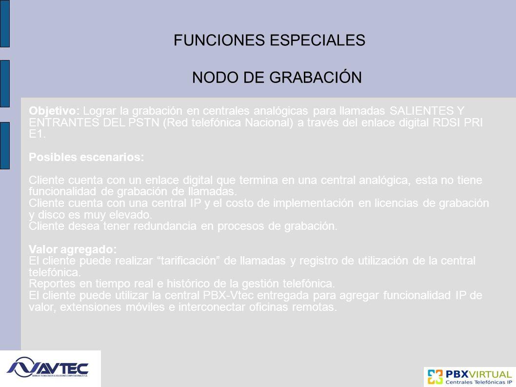 FUNCIONES ESPECIALES NODO DE GRABACIÓN