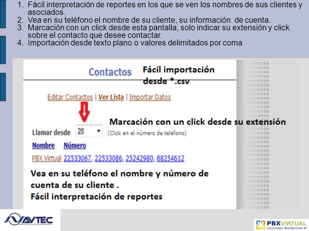 Fácil interpretación de reportes en los que se ven los nombres de sus clientes y asociados.