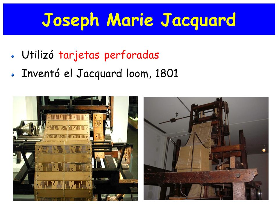 Joseph Marie Jacquard Utilizó tarjetas perforadas