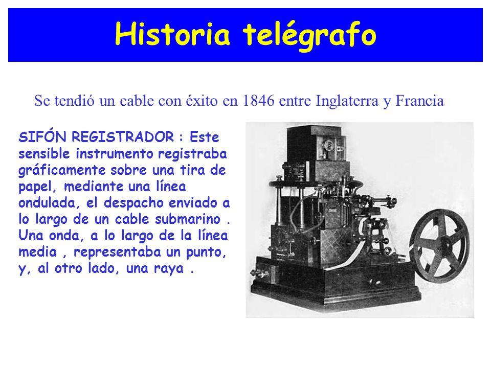 Historia telégrafo Se tendió un cable con éxito en 1846 entre Inglaterra y Francia.