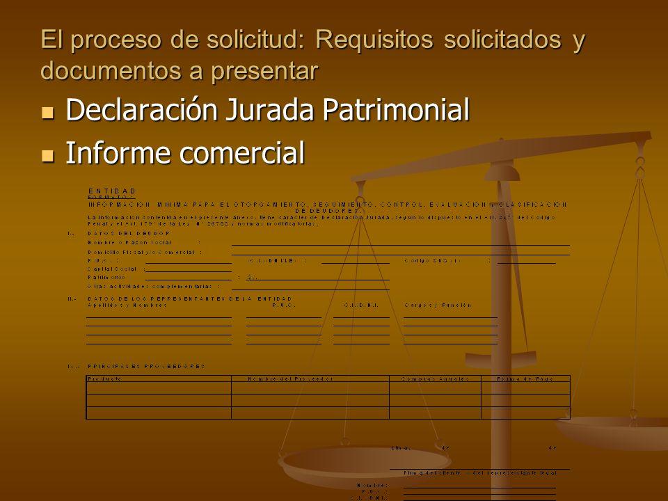 Declaración Jurada Patrimonial Informe comercial