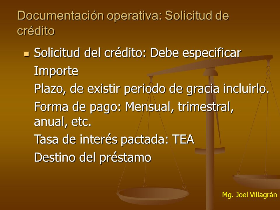 Documentación operativa: Solicitud de crédito