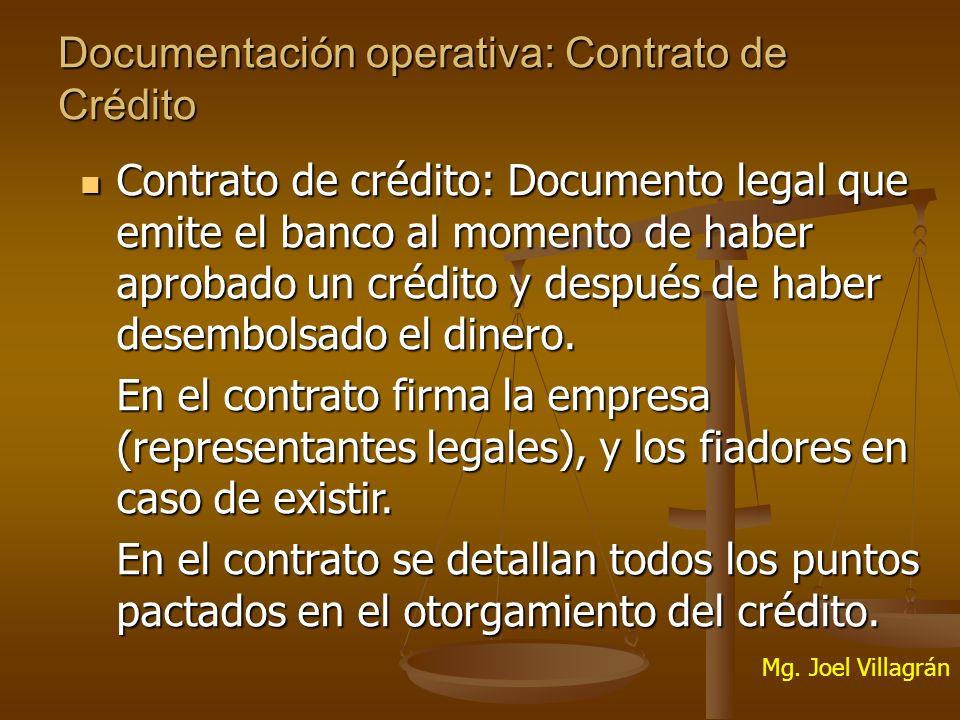 Documentación operativa: Contrato de Crédito