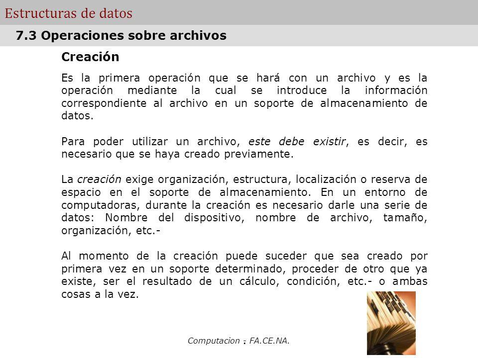 Estructuras de datos 7.3 Operaciones sobre archivos Creación .