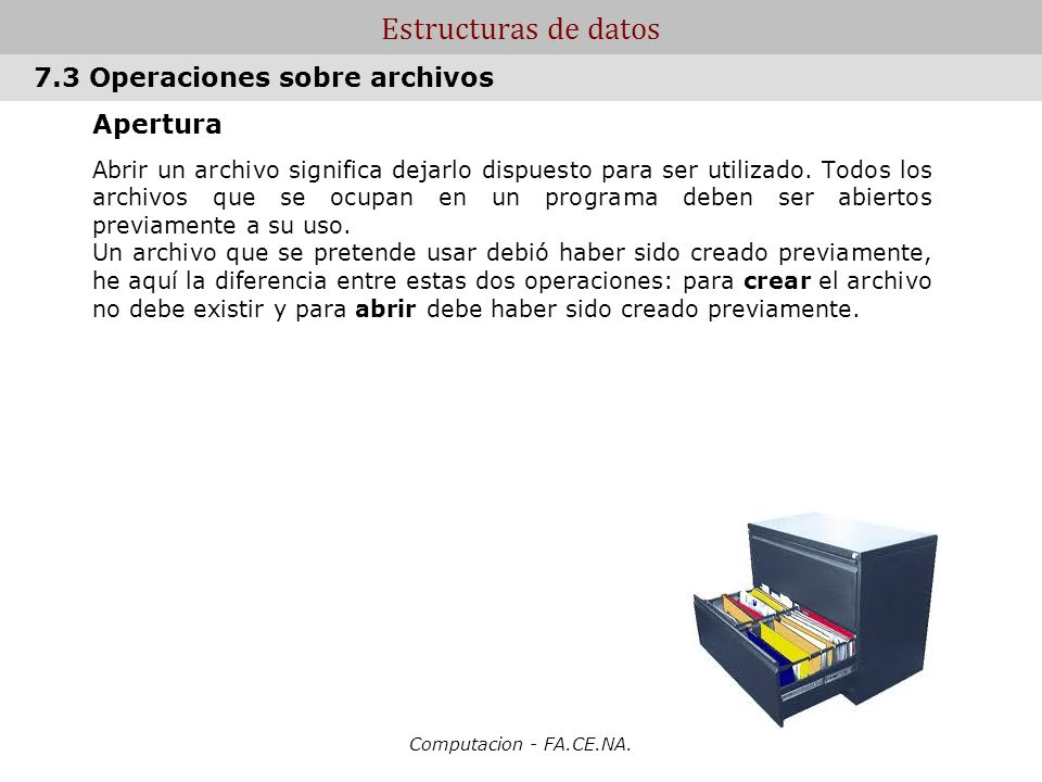 Estructuras de datos 7.3 Operaciones sobre archivos Apertura