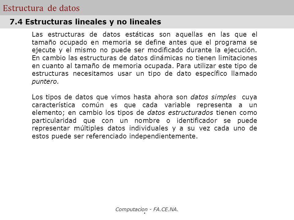 Estructura de datos 7.4 Estructuras lineales y no lineales .