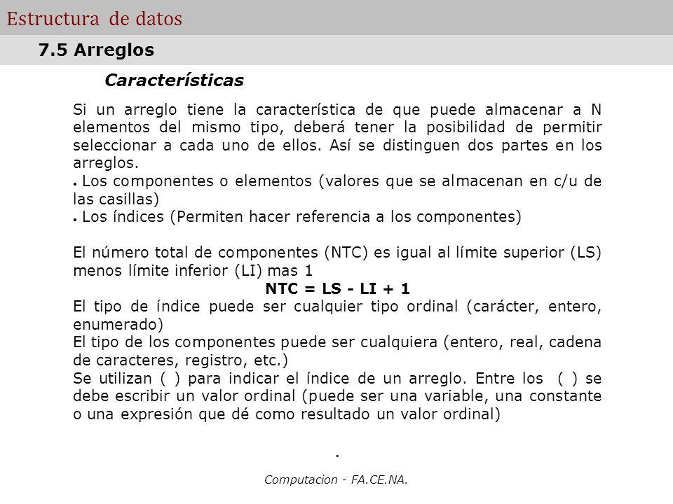 Estructura de datos 7.5 Arreglos Características .