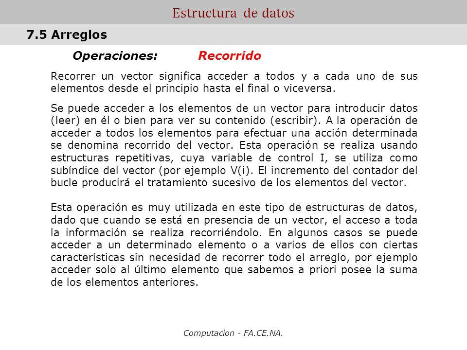 Estructura de datos 7.5 Arreglos Operaciones: Recorrido
