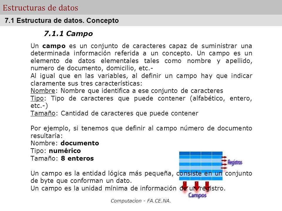 Estructuras de datos 7.1 Estructura de datos. Concepto 7.1.1 Campo