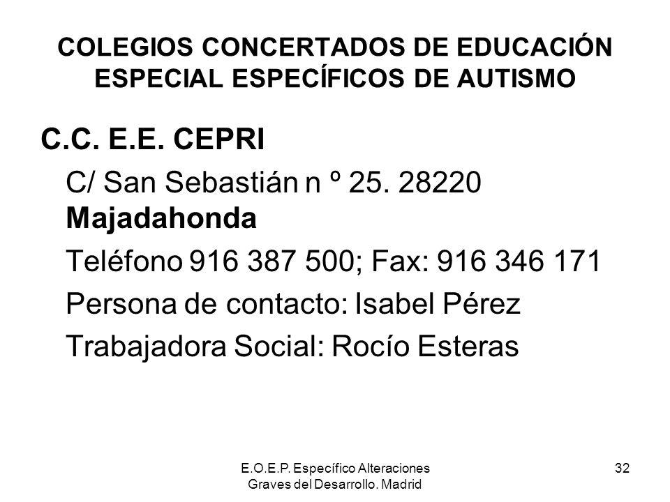 COLEGIOS CONCERTADOS DE EDUCACIÓN ESPECIAL ESPECÍFICOS DE AUTISMO