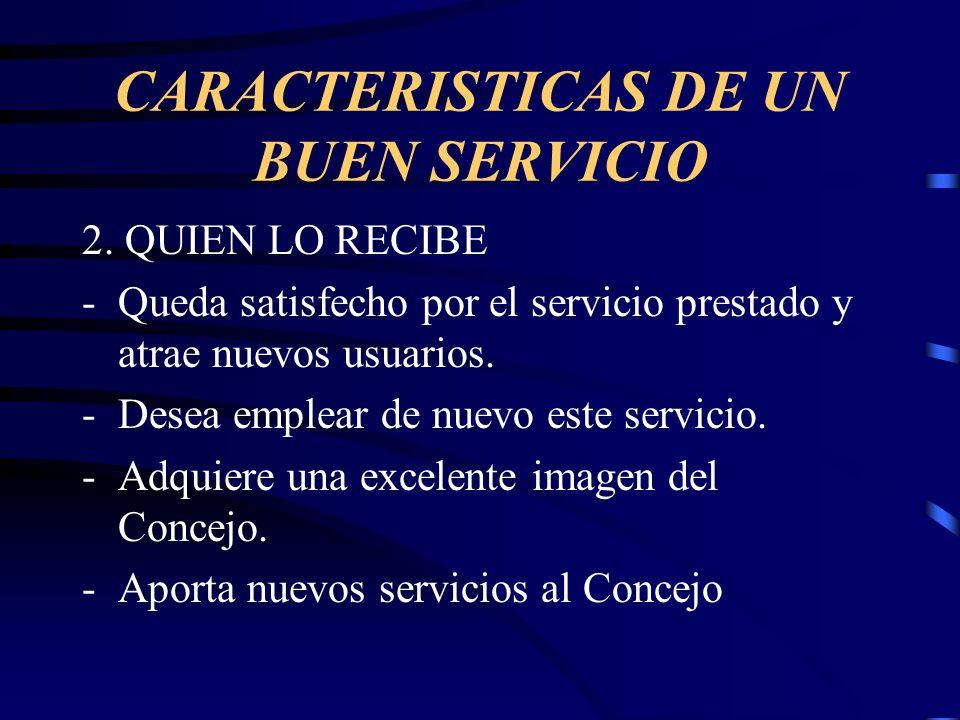 CARACTERISTICAS DE UN BUEN SERVICIO