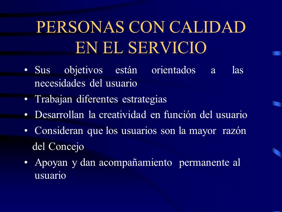 PERSONAS CON CALIDAD EN EL SERVICIO