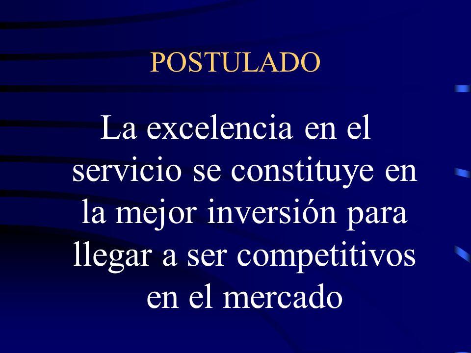 POSTULADO La excelencia en el servicio se constituye en la mejor inversión para llegar a ser competitivos en el mercado.