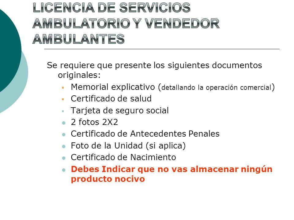 Licencia de servicios Ambulatorio y Vendedor Ambulantes
