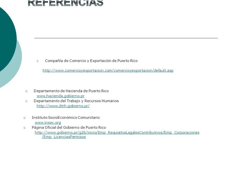 Referencias Compañía de Comercio y Exportación de Puerto Rico