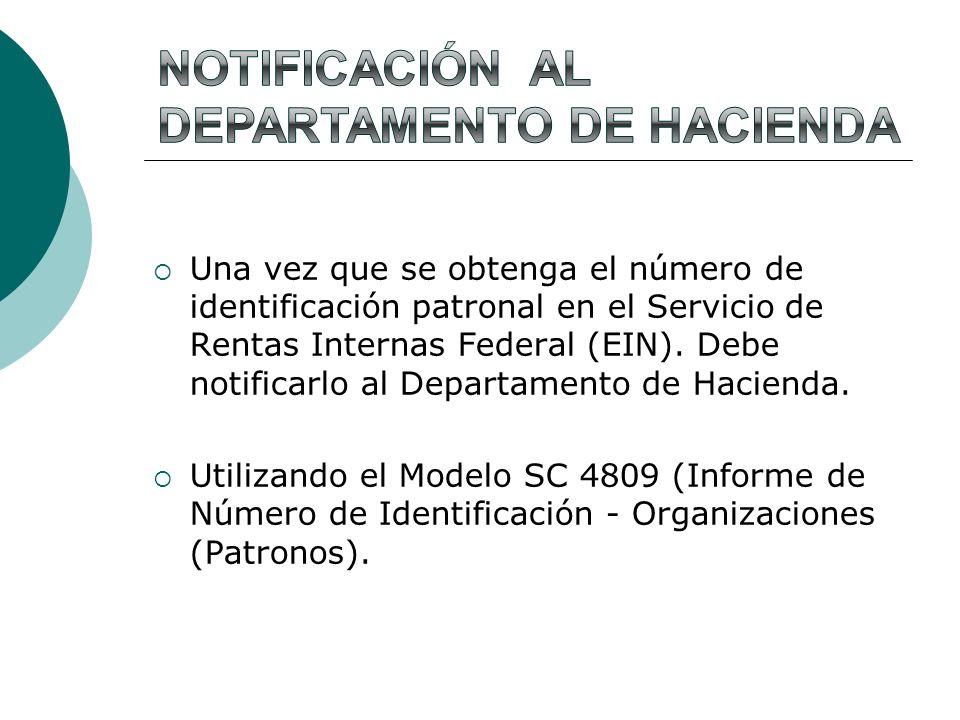 Notificación al Departamento de Hacienda