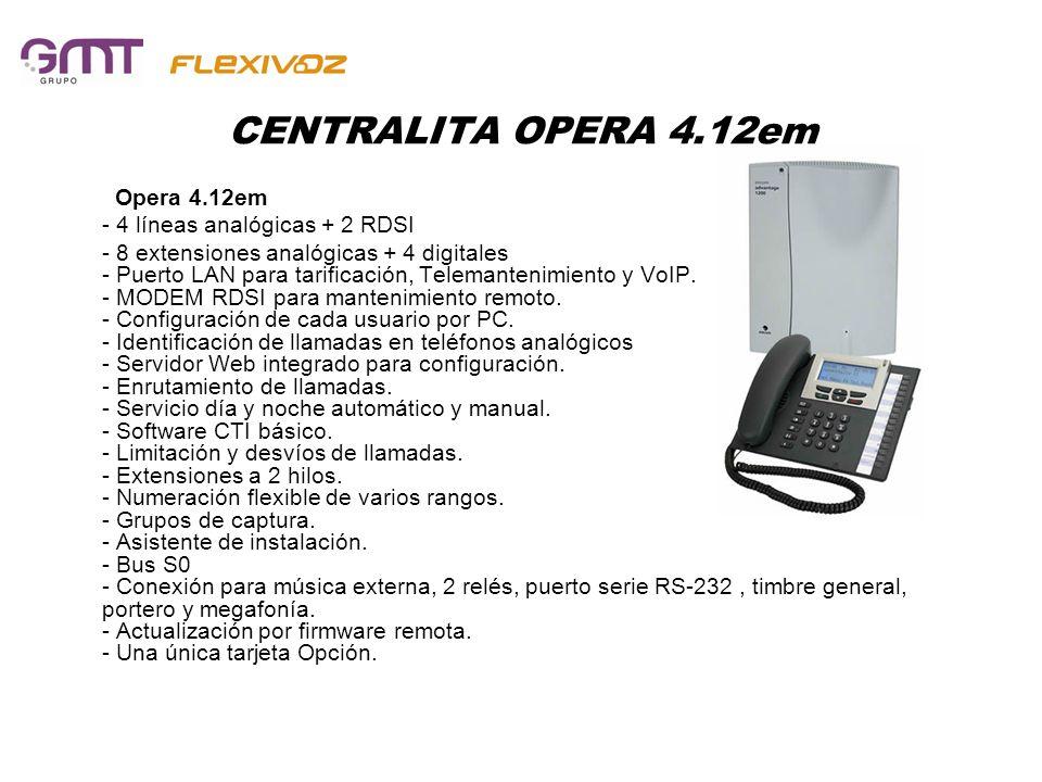 CENTRALITA OPERA 4.12em Opera 4.12em - 4 líneas analógicas + 2 RDSI