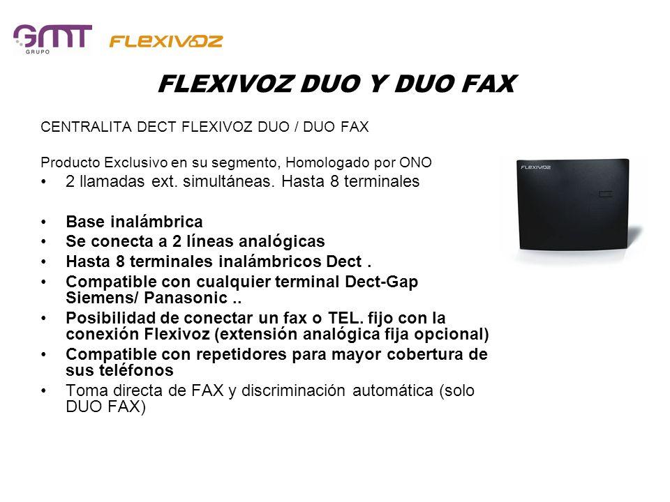 FLEXIVOZ DUO Y DUO FAX 2 llamadas ext. simultáneas. Hasta 8 terminales