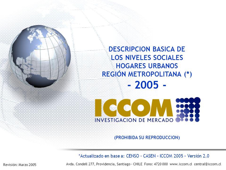REGIÓN METROPOLITANA (*) - 2005 - (PROHIBIDA SU REPRODUCCION)