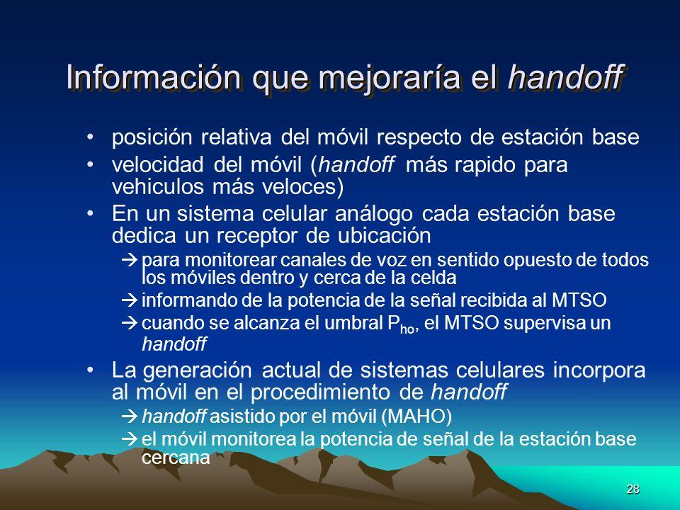Información que mejoraría el handoff
